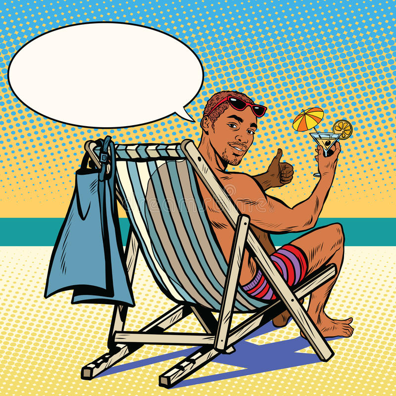 Vector Vintage Pop Art Beach Holiday Illustration Stock: Handsome Black Man Resting On The Beach Stock Vector