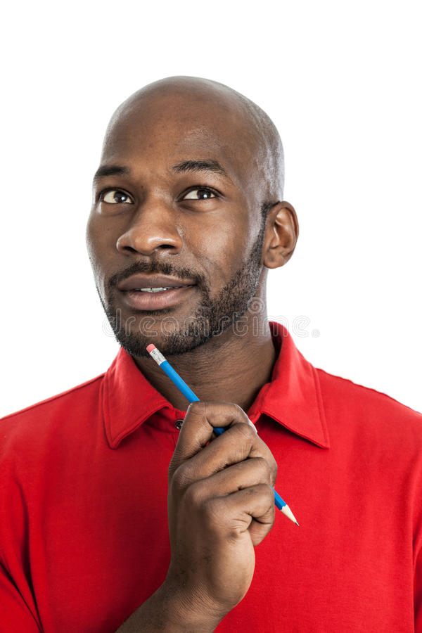 Handsome Black Man Thinking royalty free stock image