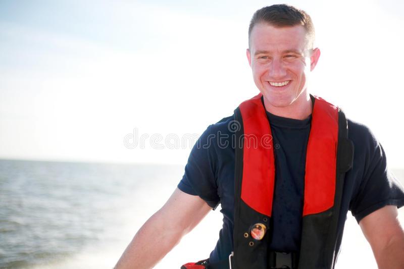 Download Handsome Boater stock photo. Image of helper, life, device - 16011878