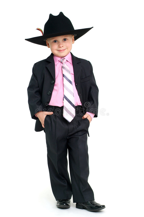 Handsome boy. Little handsome boy in elegant suit and hat stock photo