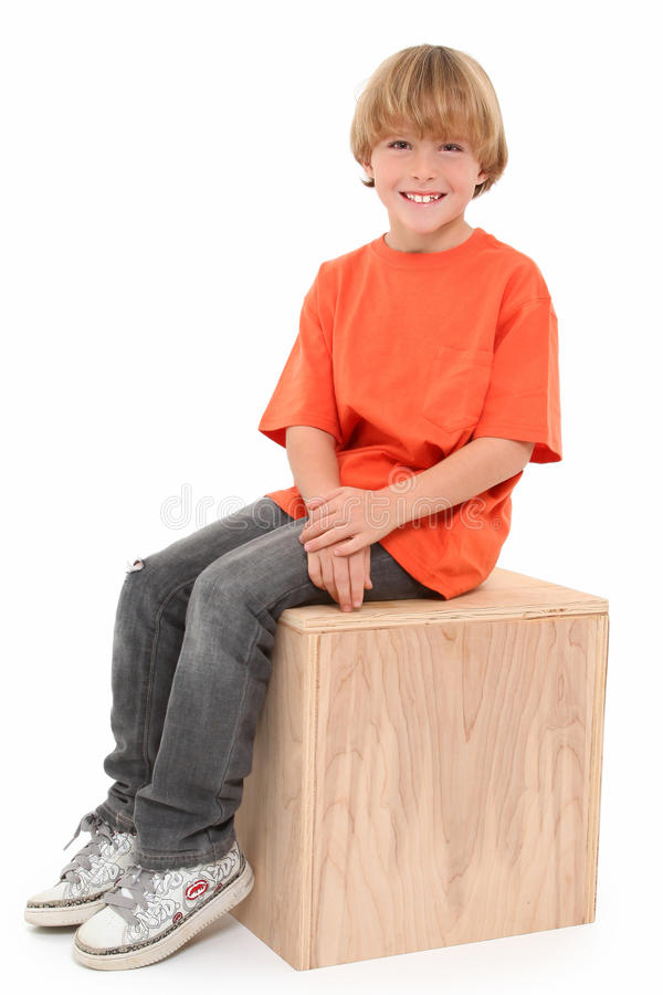 Download Handsome Boy on Box stock image. Image of smile, wooden - 16672447