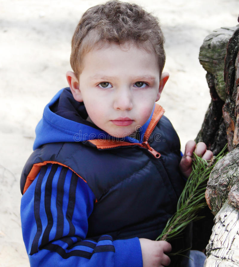 Handsome Boy Standing Near Tree. Stock Photos