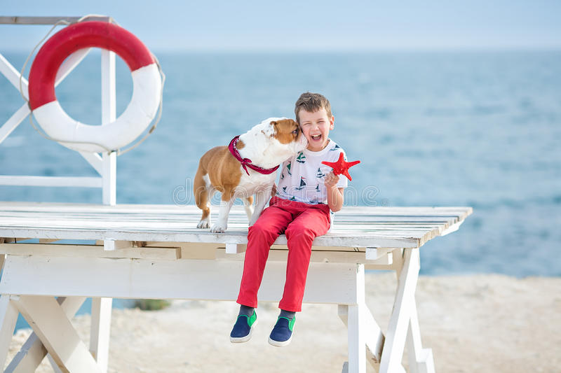 Handsome boy teen happyly spending time together with his friend bulldog on sea side Kid dog holding playing two sea stars close t. O life buoy float wearing red stock photo
