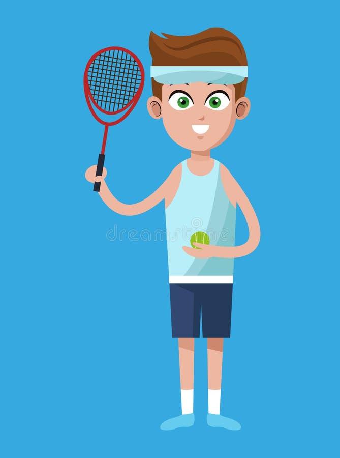 Free Handsome Boy Tennis Racket Ball And Headband Royalty Free Stock Image - 85461186