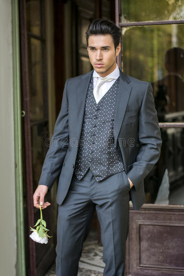 Handsome bridegroom in grey suit royalty free stock photography