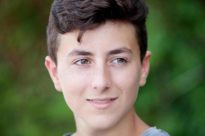 Handsome brown-haired teen royalty free stock photo