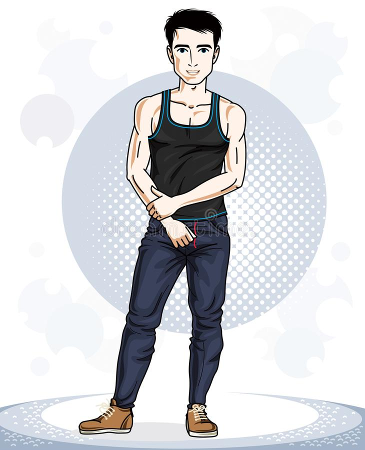 Handsome brunet young man standing. Vector illustration of sport. Sman. Active and healthy lifestyle theme cartoon vector illustration