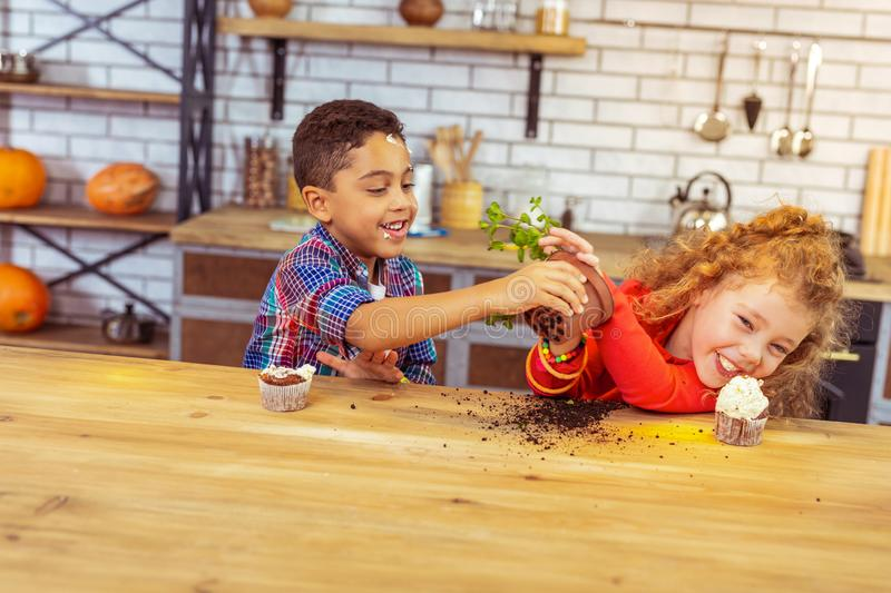 Handsome brunette boy strewing soil on table. Stop it. Delighted kids expressing positivity while playing with plant stock photos