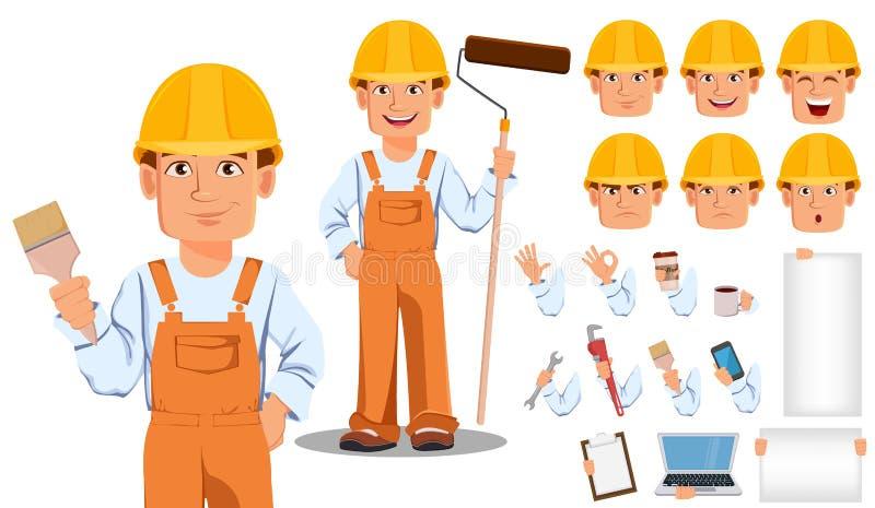Handsome builder in uniform. Professional construction worker. Handsome builder in uniform cartoon character creation set. Professional construction worker vector illustration