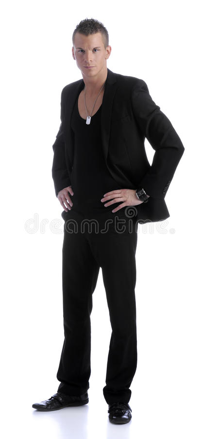 Handsome business man, hands in his hips royalty free stock image
