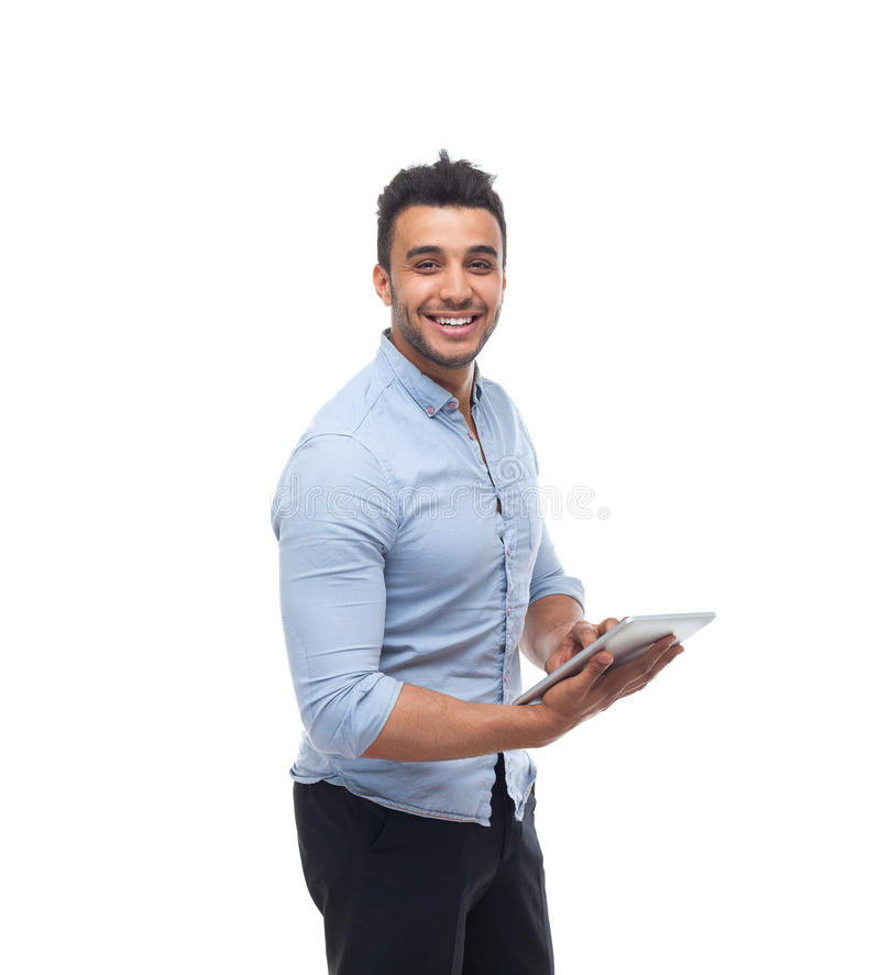 Handsome business man happy smile, businessman hold tablet pad computer royalty free stock photos