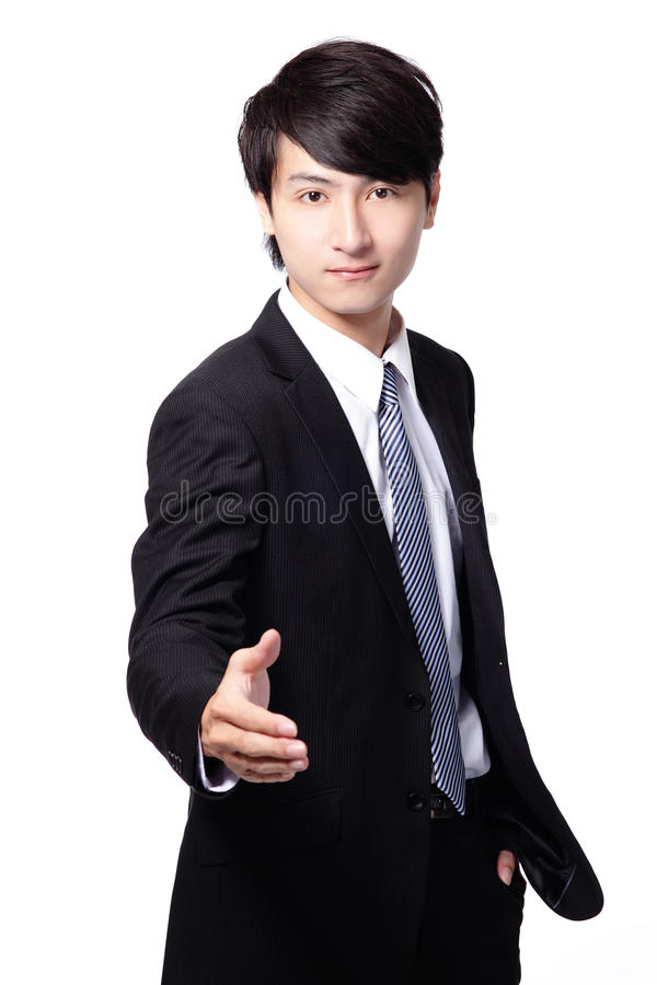 Handsome business man smile shake hand stock photography