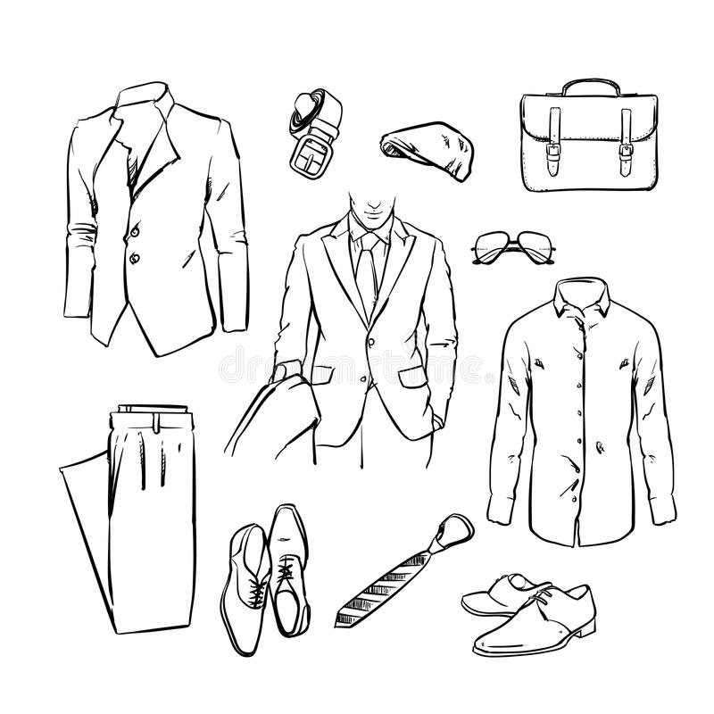Handsome business man suit. office uniform. vector sketch stock illustration