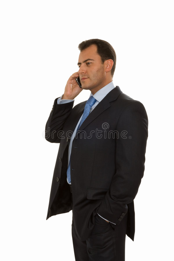 Handsome business man talking on the phone royalty free stock photos