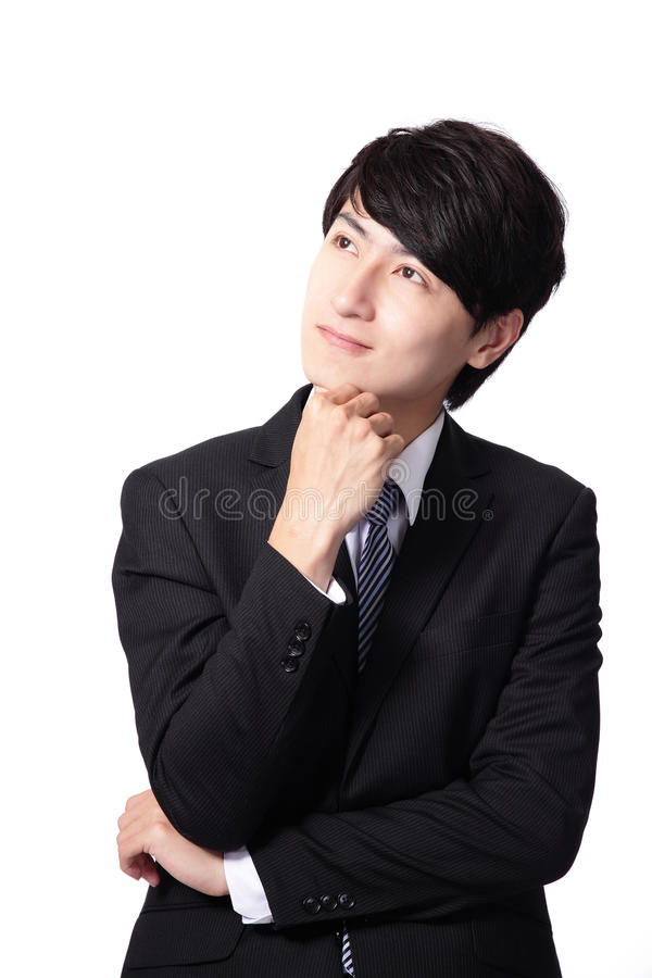 Handsome business man think and look copy space royalty free stock images