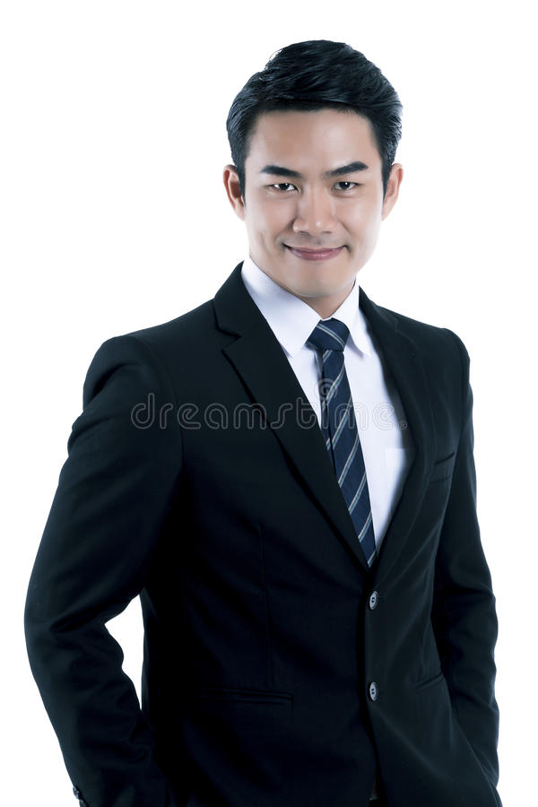 The handsome businessman in black suit stock photos