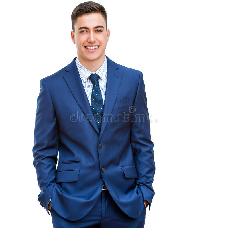 Handsome businessman in blue suit. Close up portrait of attractive young businessman in blue suit. Half body portrait Isolated on white background stock image