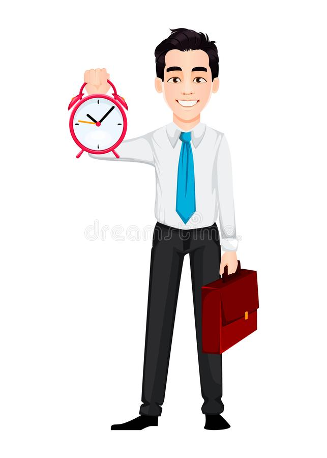 Young business man holding alarm clock and briefcase. Handsome businessman cartoon character. Vector illustration on white background royalty free illustration