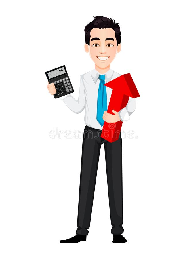 Young business man holding calculator and red arrow. Handsome businessman cartoon character. Vector illustration on white background vector illustration