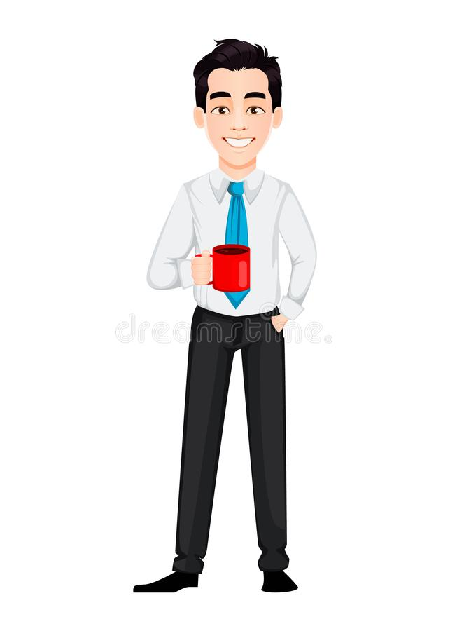 Young business man holding a cup of coffee while coffee break. Handsome businessman cartoon character. Vector illustration on white background stock illustration