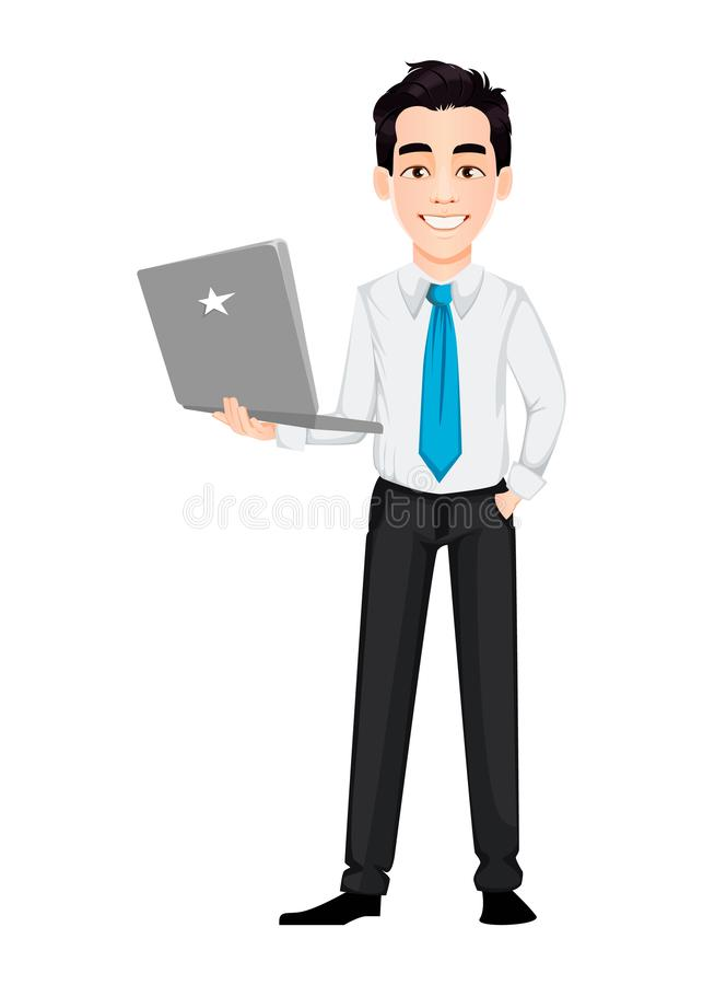 Young business man holding modern laptop. Handsome businessman cartoon character. Vector illustration on white background stock illustration