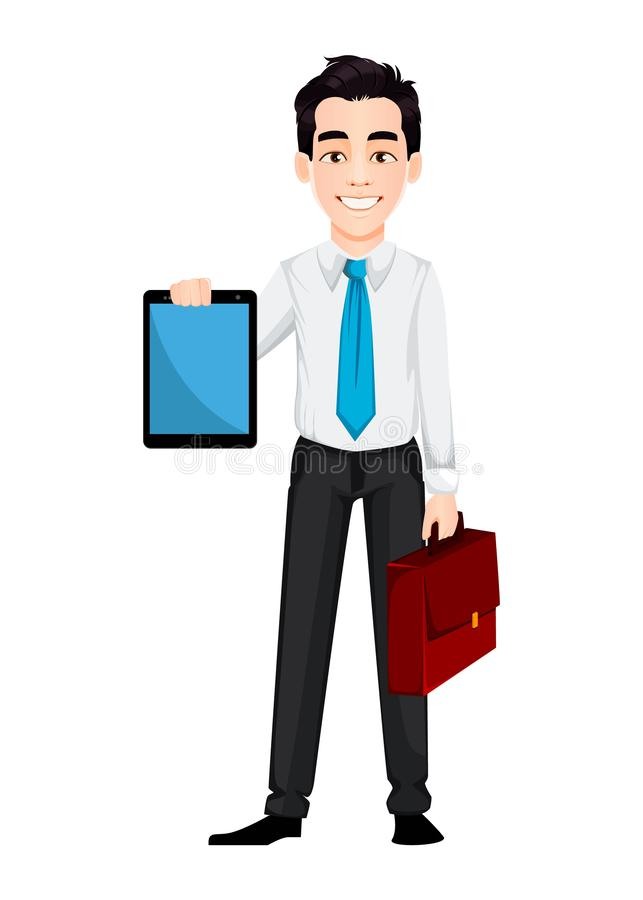 Young business man holding tablet and briefcase. Handsome businessman cartoon character. Vector illustration on white background royalty free illustration