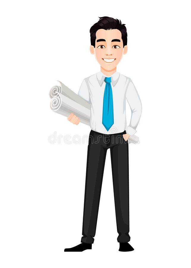 Young business man holding two scrolls of whatman paper. Handsome businessman cartoon character. Vector illustration on white background stock illustration