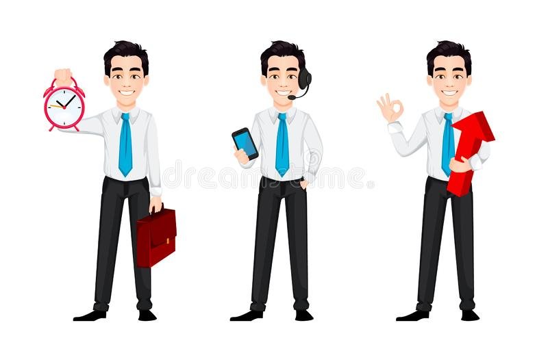 Young business man, set of three poses. Handsome businessman cartoon character holds alarm clock, holds smartphone and holds red arrow. Vector illustration royalty free illustration