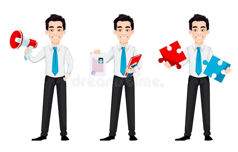 Young business man, set of three poses. Handsome businessman cartoon character holds loudspeaker, holds resume and holds puzzle. Vector illustration royalty free illustration