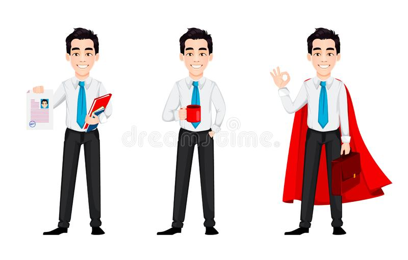 Young business man, set of three poses. Handsome businessman cartoon character holds resume, holds a cup of coffee and stands in superhero cloak. Vector stock illustration