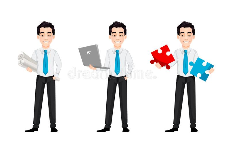 Young business man, set of three poses. Handsome businessman cartoon character holds whatman paper, holds laptop and holds puzzle. Vector illustration vector illustration
