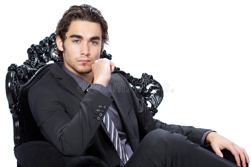 Handsome businessman in chair