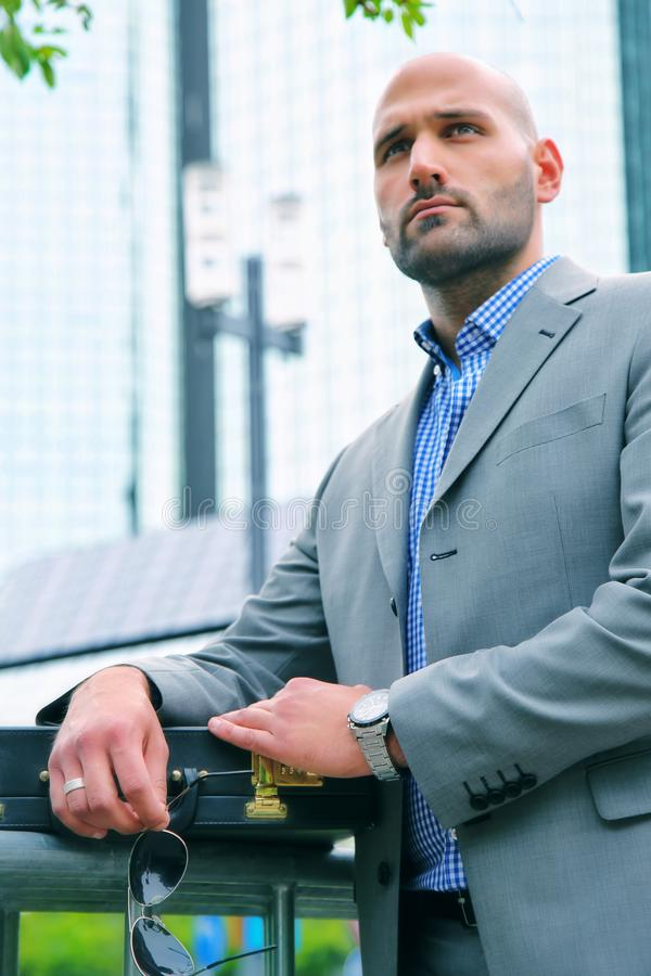 Handsome Businessman in City Outdoor Concept stock image