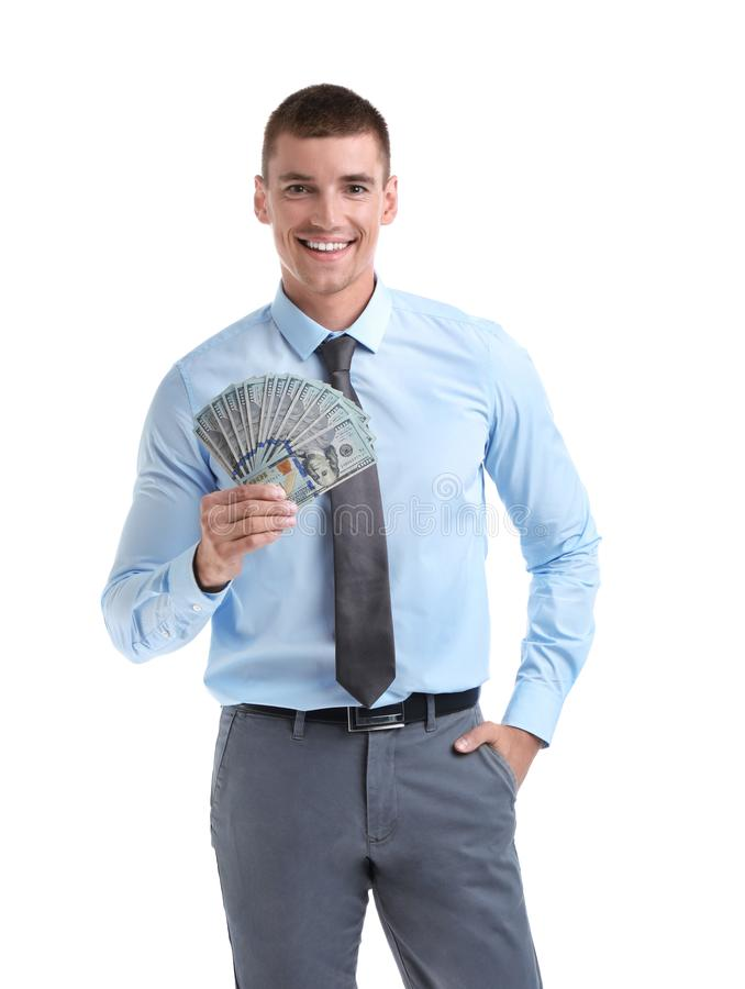 Handsome businessman with  on white background. Handsome businessman with dollars on white background stock image