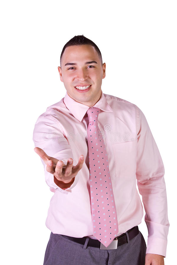 Download Handsome Businessman Extending His Empty Hand Stock Image - Image: 14660753