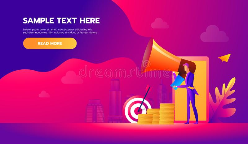 Handsome businessman in formal suit holding megaphone and shouting in it. Happy manager with bullhorn. Business concept vector illustration