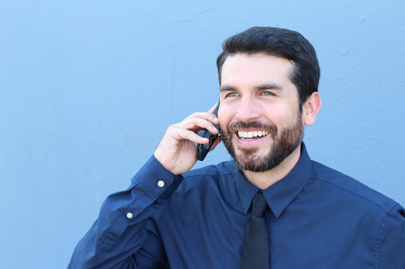 Handsome businessman having phone call.  royalty free stock image