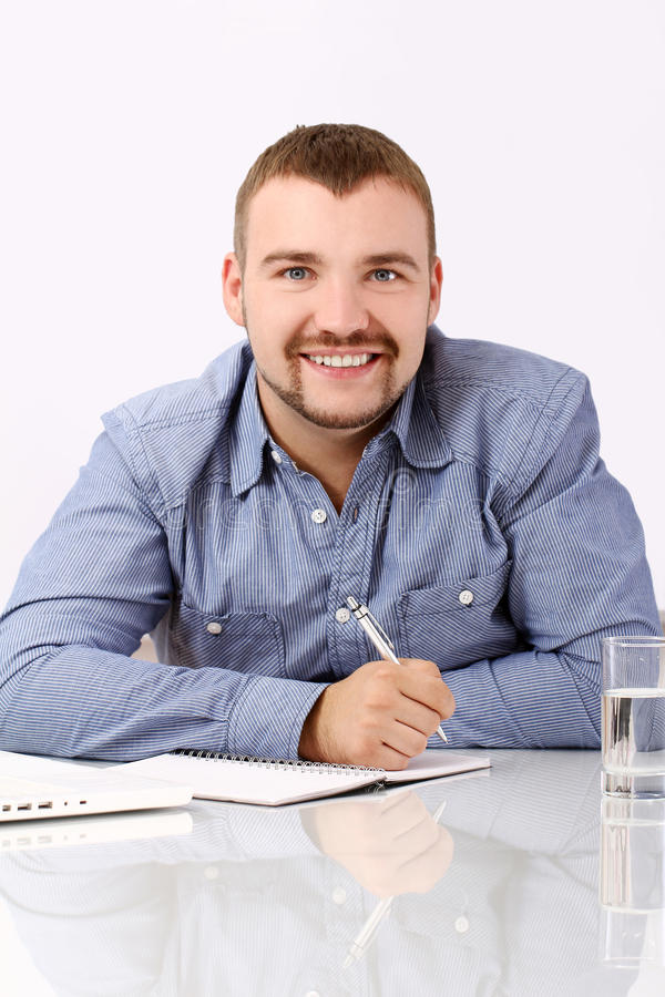 Download Handsome Businessman At His Workplace Stock Image - Image: 25688937