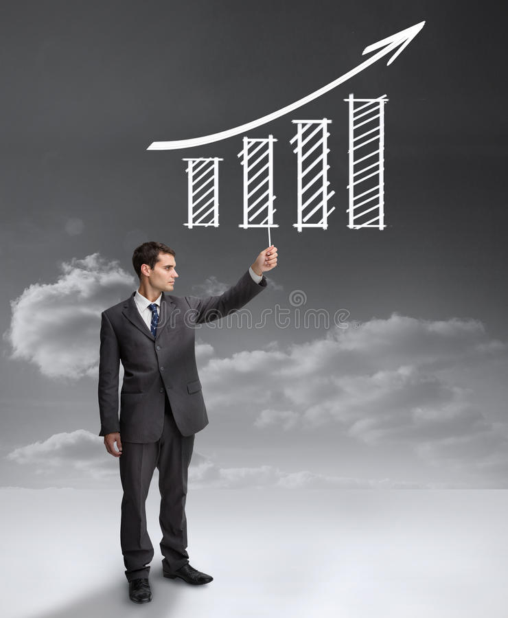 Download Handsome Businessman Holding A Drawing Of A Growing Chart Stock Illustration - Image: 32512133