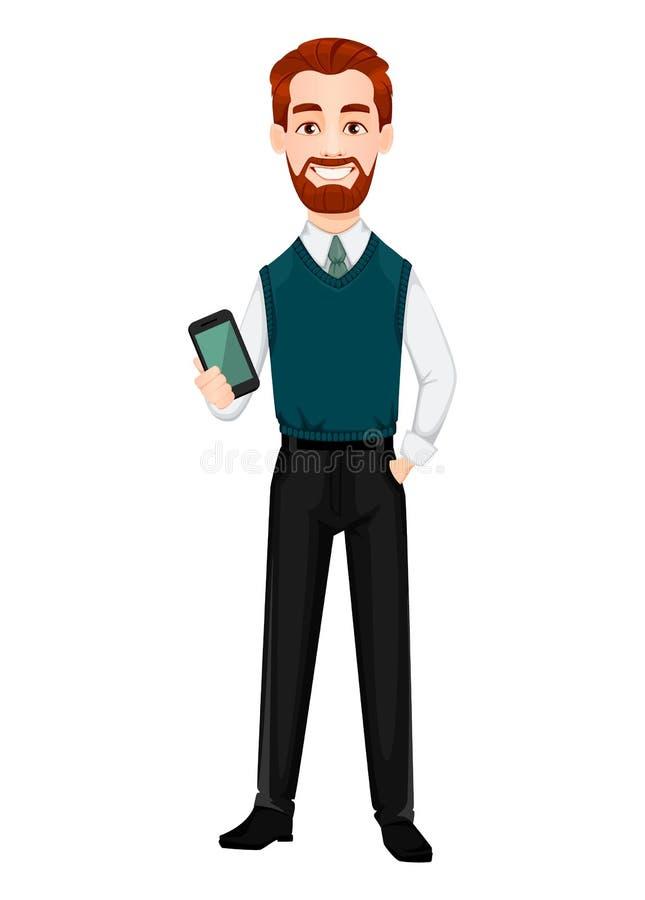 Successful business man. Handsome businessman holding smartphone. vector illustration