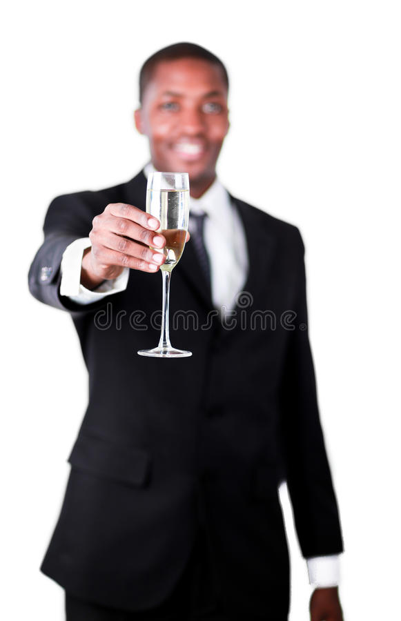 Handsome Businessman Holdng A Glass Of Champagne Royalty Free Stock Image