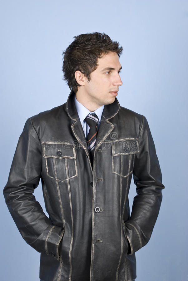 Handsome businessman in leather