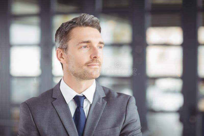 Handsome businessman looking away stock image