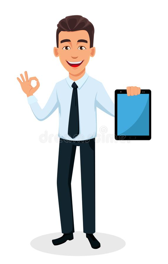 Handsome businessman in office style clothes. Business man cartoon character holding tablet and showing ok sign. Young handsome smiling businessman in office vector illustration