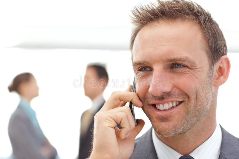 Handsome Businessman On The Phone Stock Photography