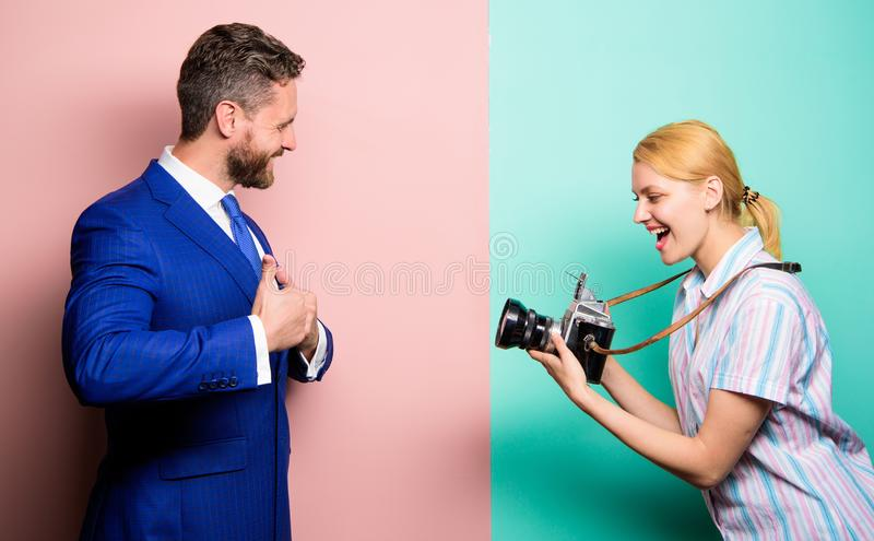 Handsome businessman posing camera. Nice shot. Fame and success. Businessman enjoy star moment. Photographer taking royalty free stock image