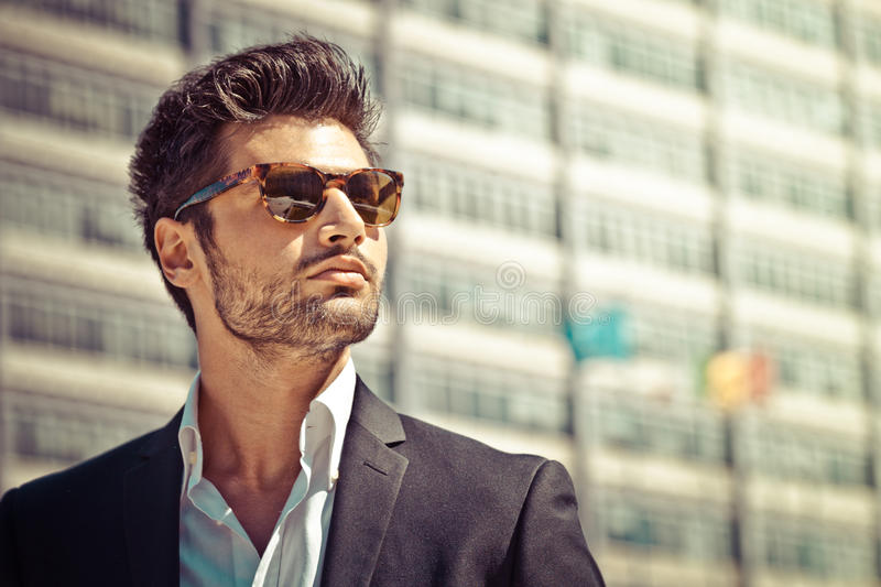 Handsome businessman with sunglasses stock image