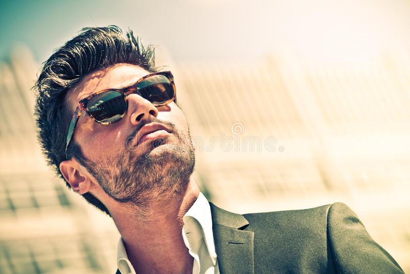 Handsome businessman with sunglasses stock photos