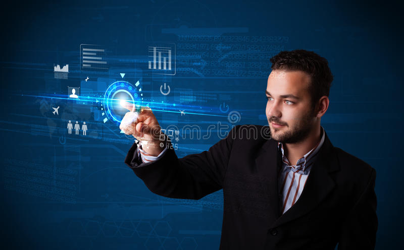 Handsome businessman touching future web technology buttons and. Businessman touching future web technology buttons and icons stock photos