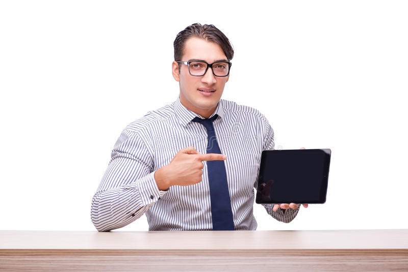 Handsome businessman working with tablet computer isolated on wh. Ite stock image